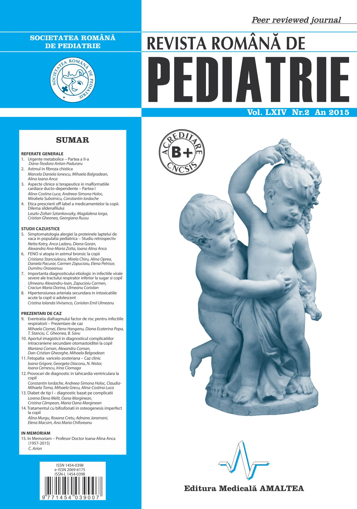 Revista Romana de PEDIATRIE | Volumul LXIV, No. 2, Year 2015