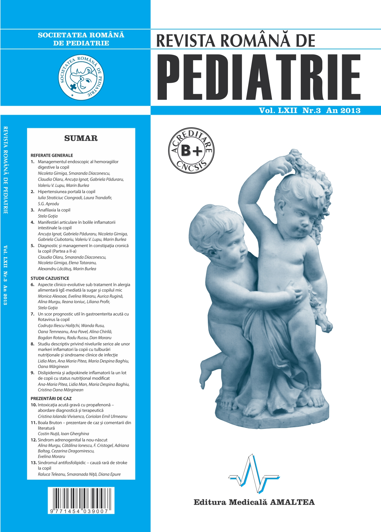Revista Romana de PEDIATRIE | Volumul LXII, No. 3, Year 2013