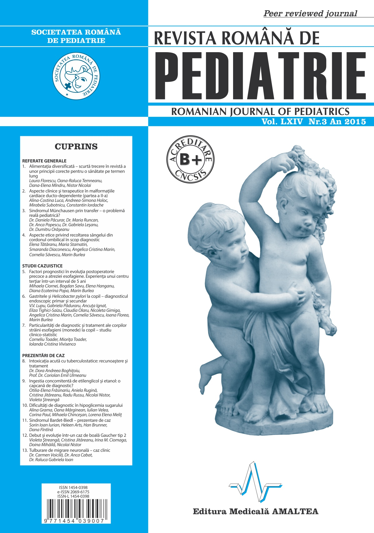 Revista Romana de PEDIATRIE | Volumul LXIV, No. 3, Year 2015