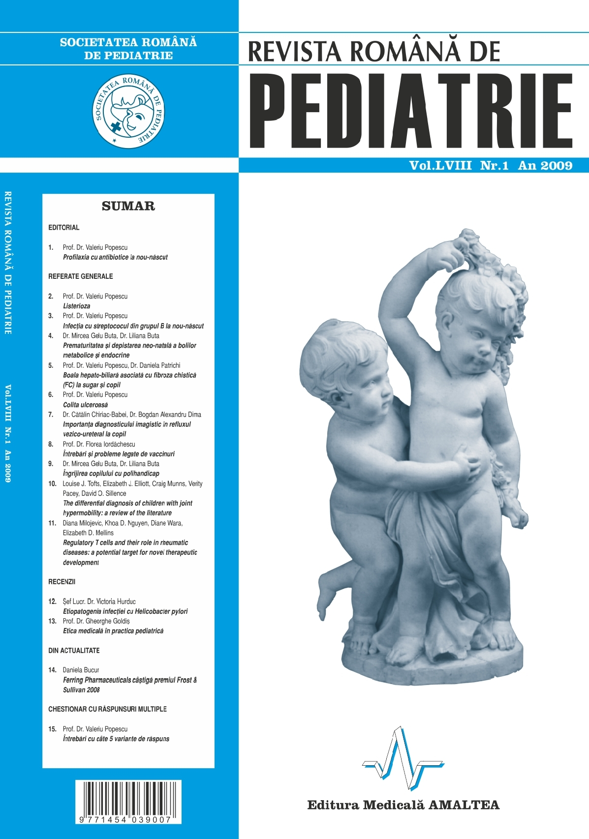 Revista Romana de PEDIATRIE | Volumul LVIII, No. 1, Year 2009