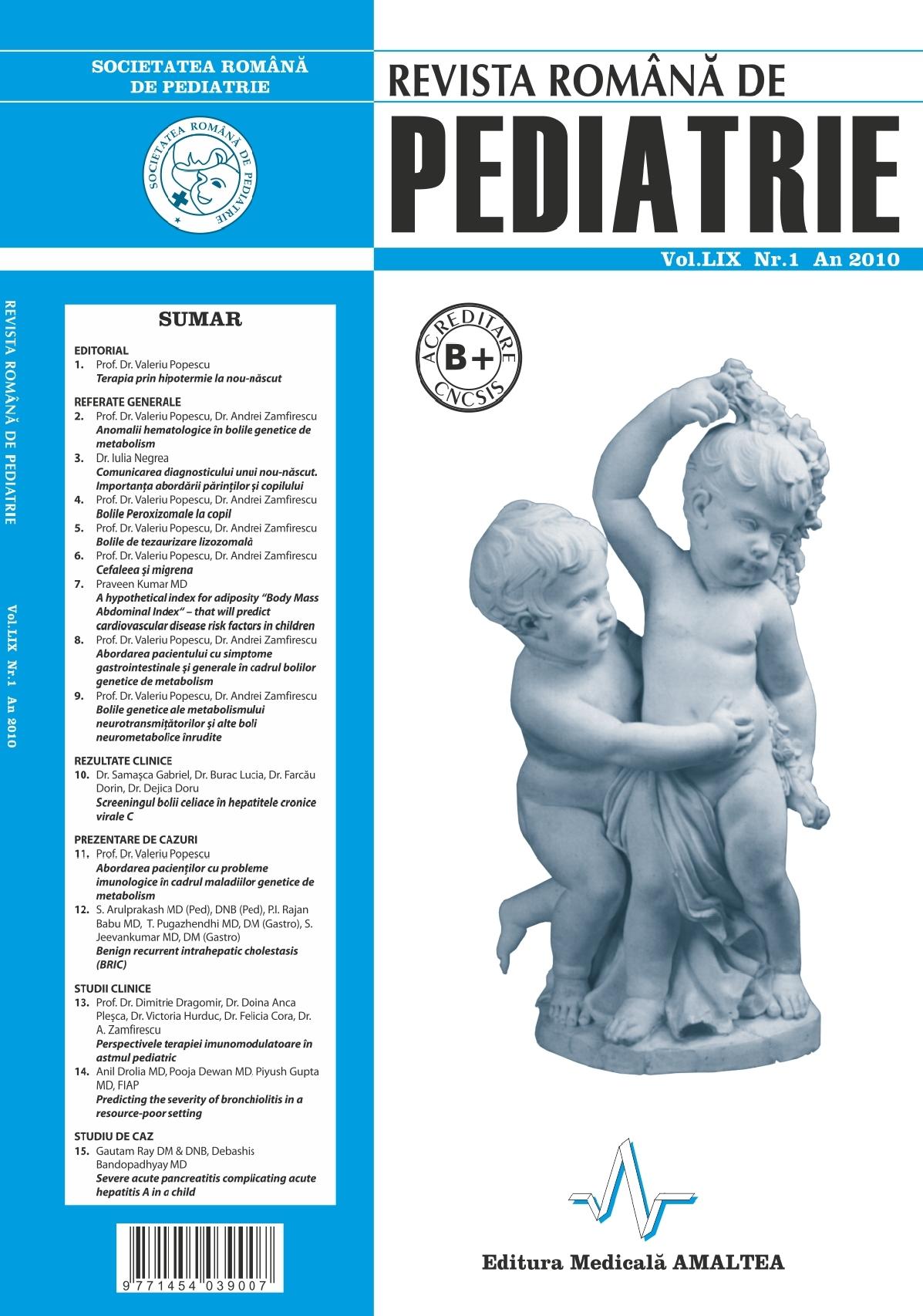 Revista Romana de PEDIATRIE | Volumul LIX, Nr. 1, An 2010