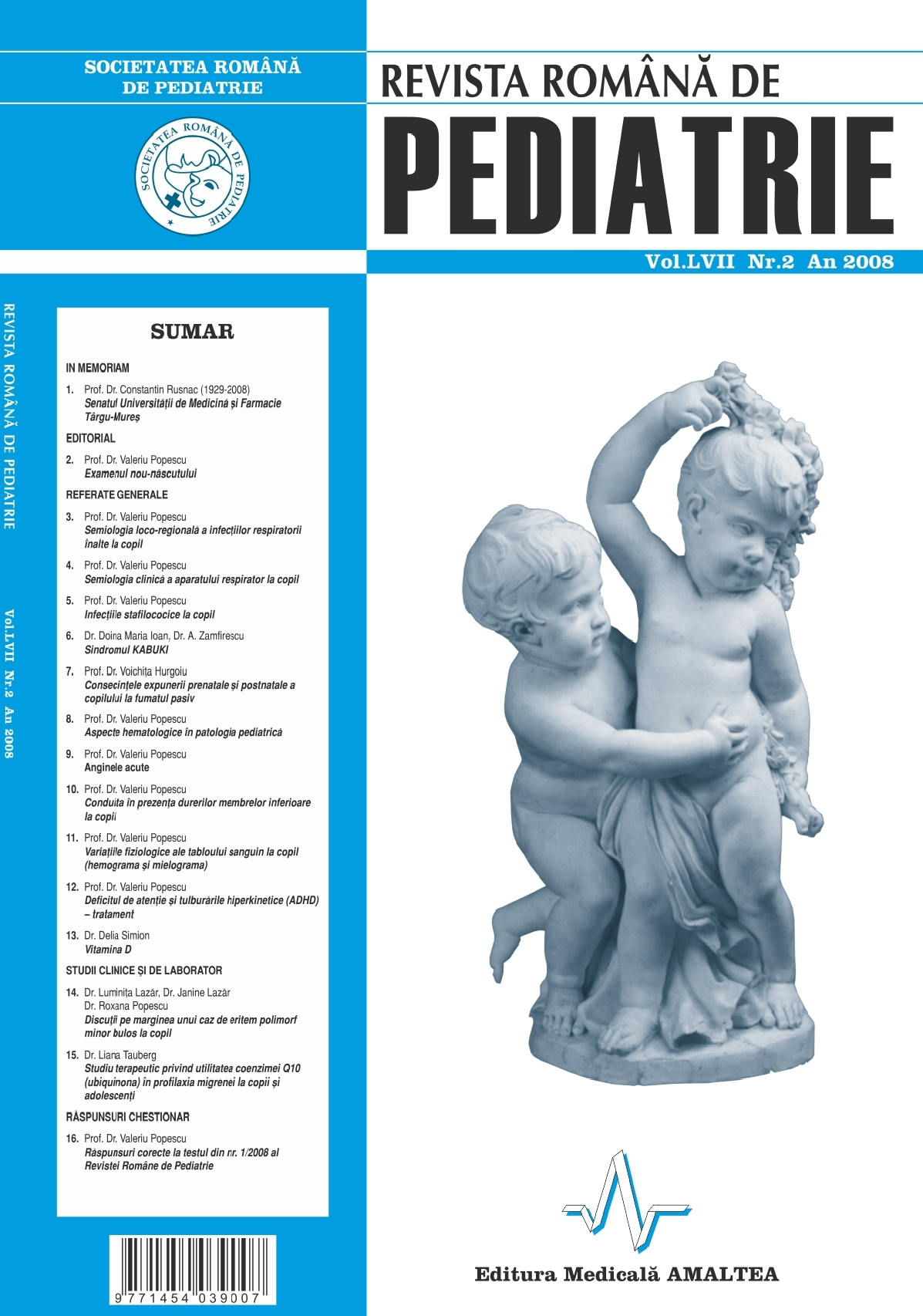 Revista Romana de PEDIATRIE | Volumul LVII, No. 2, Year 2008