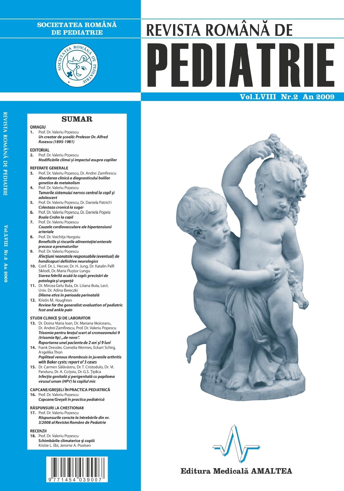 Revista Romana de PEDIATRIE | Volumul LVIII, No. 2, Year 2009