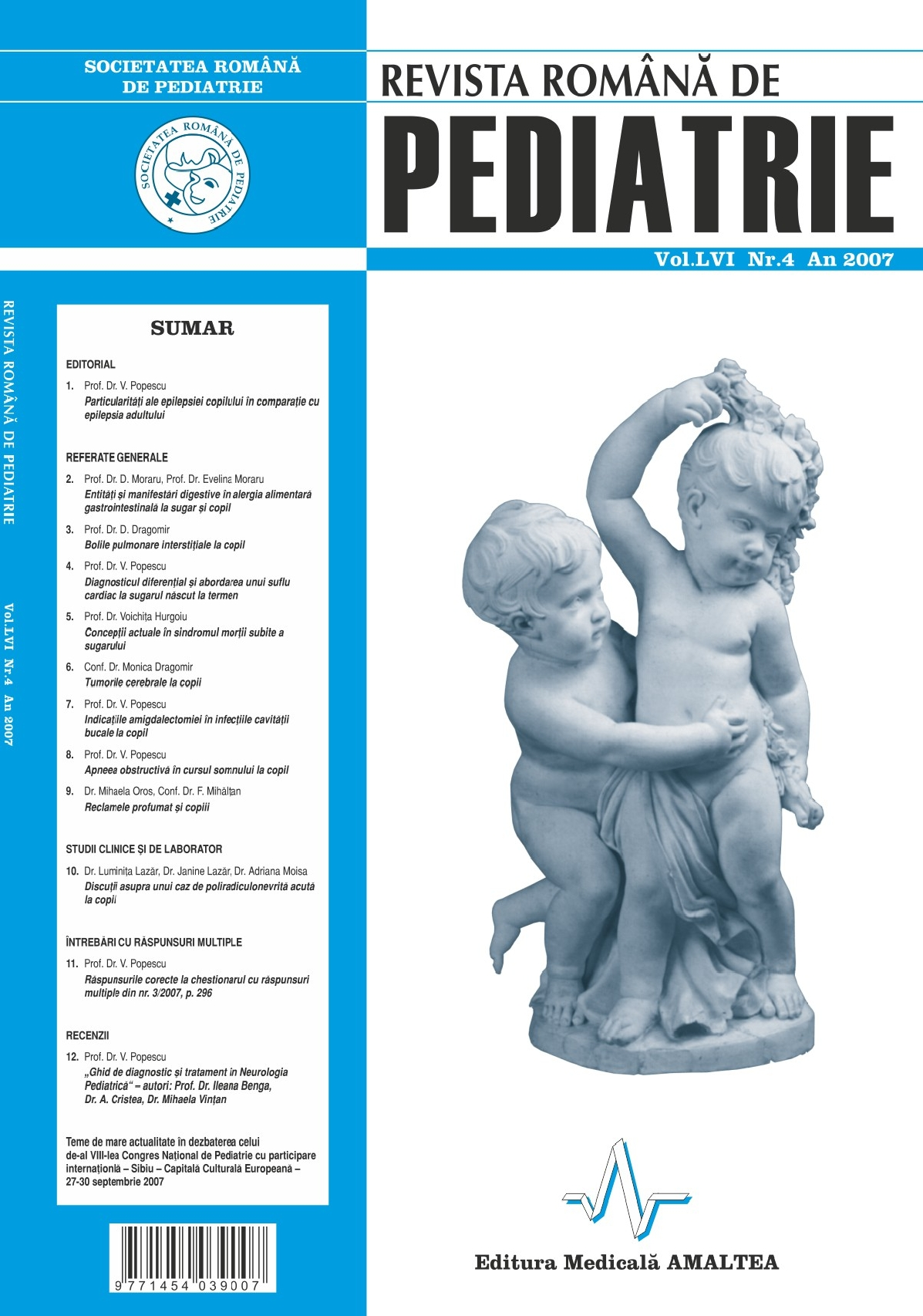 Revista Romana de PEDIATRIE | Volumul LVI, Nr. 4, An 2007