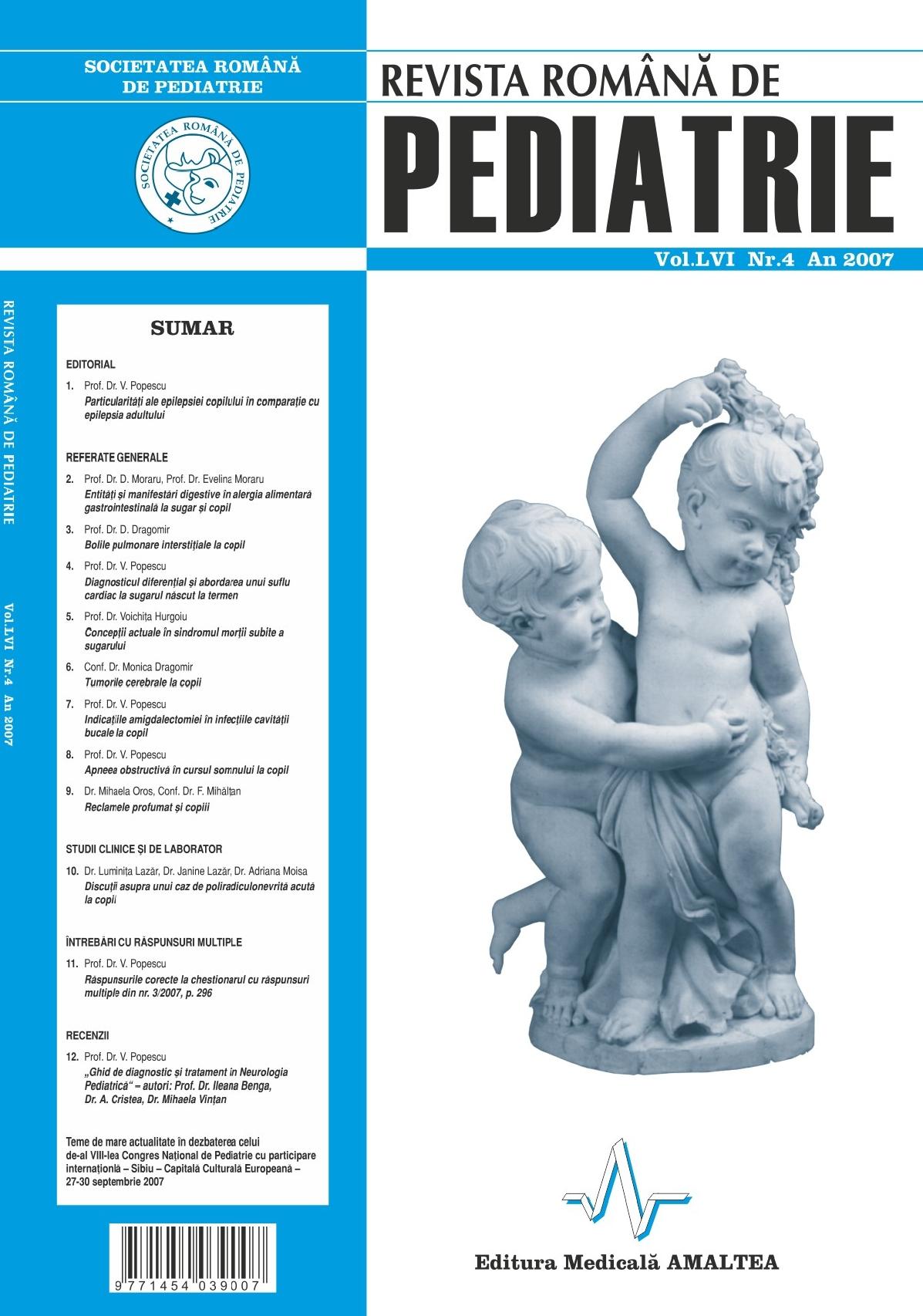 Revista Romana de PEDIATRIE | Volumul LVI, Nr. 4, An 2007
