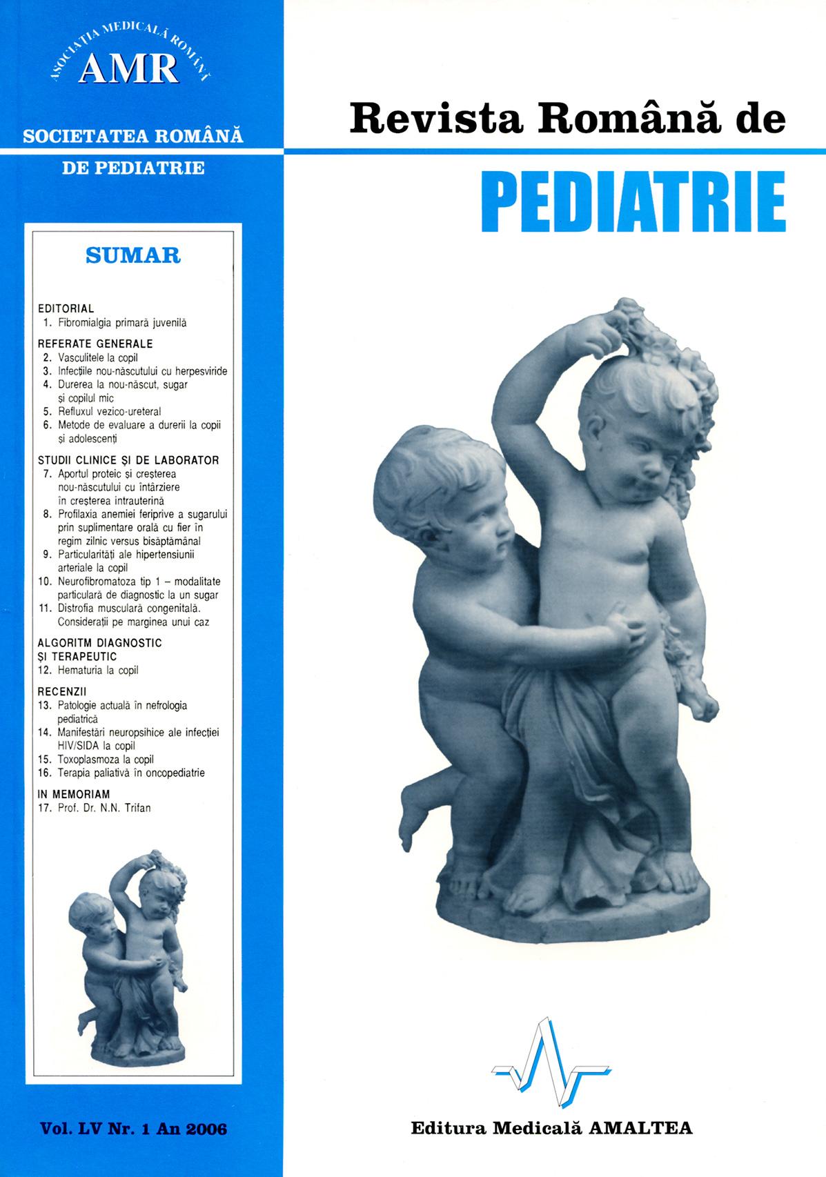 Revista Romana de PEDIATRIE | Volumul LV, Nr. 1, An 2006
