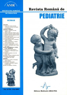 Revista Romana de PEDIATRIE | Volumul LV, Nr. 3, An 2006
