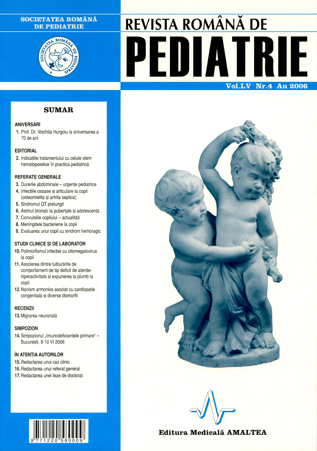 Revista Romana de PEDIATRIE | Volumul LV, No. 4, Year 2006