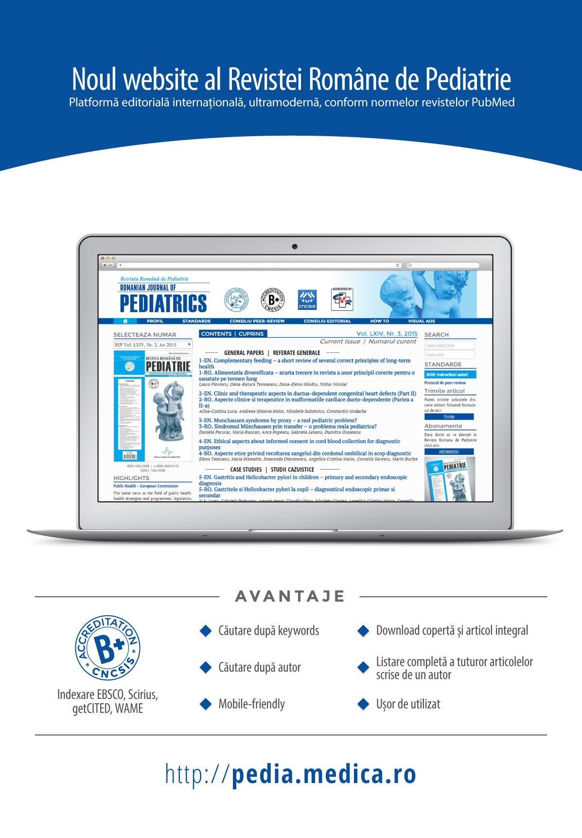 Revista Romana de PEDIATRIE - Romanian Journal of Pediatrics