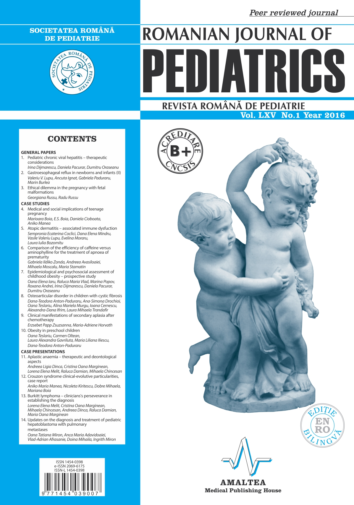 Revista Romana de PEDIATRIE | Volumul LXV, Nr. 1, An 2016
