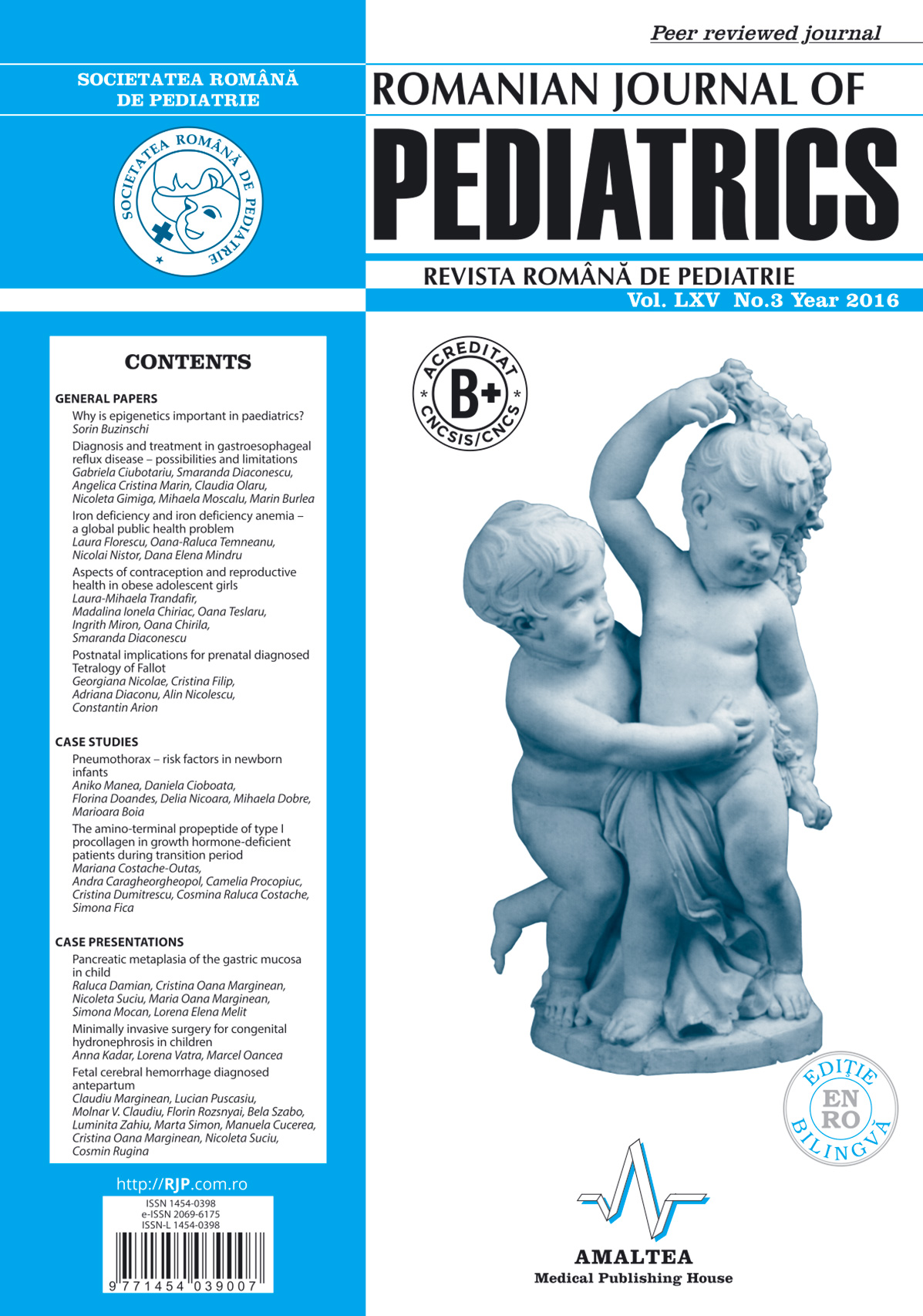 Revista Romana de PEDIATRIE | Volumul LXV, Nr. 3, An 2016