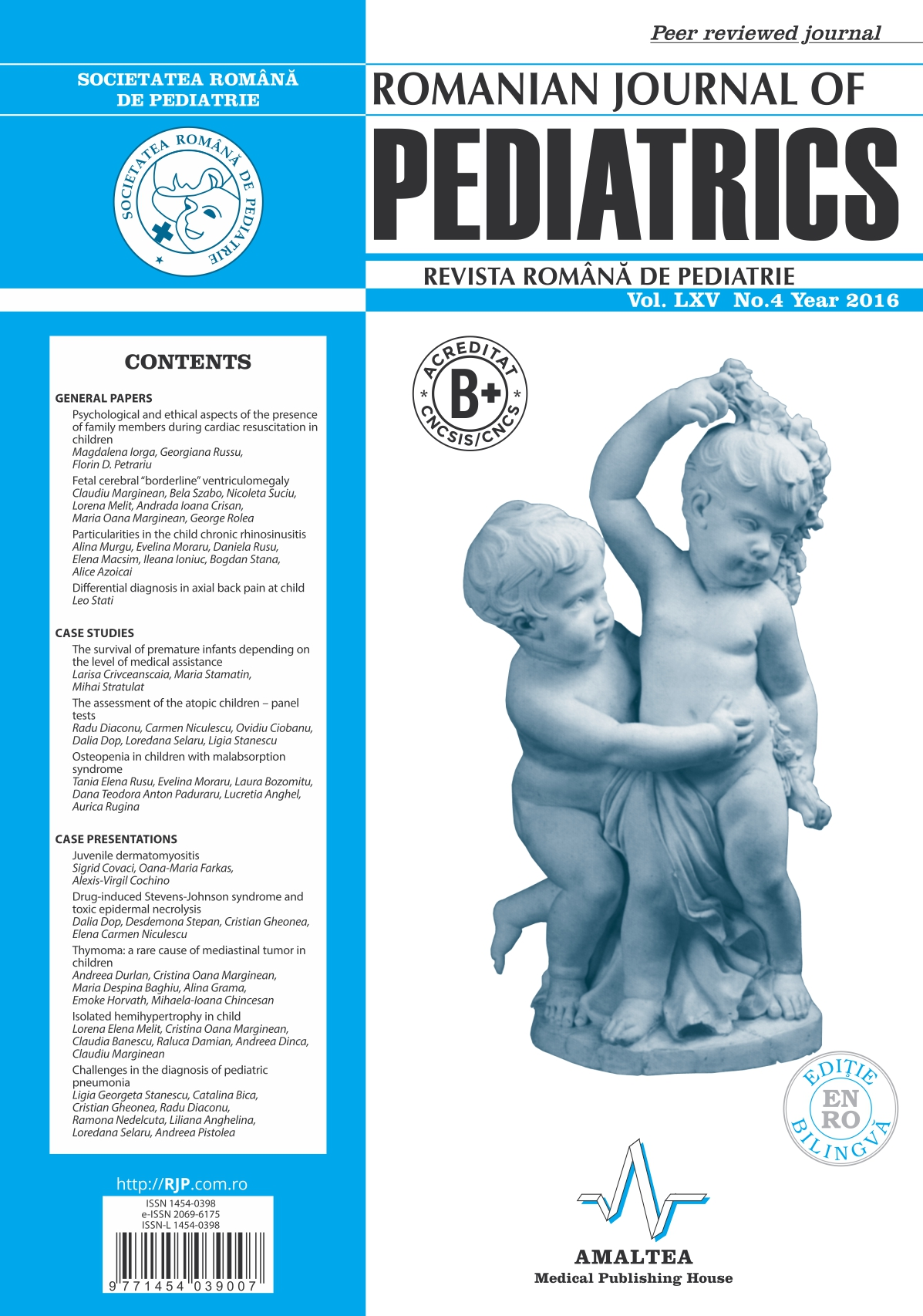 Revista Romana de PEDIATRIE | Volumul LXV, No. 4, Year 2016