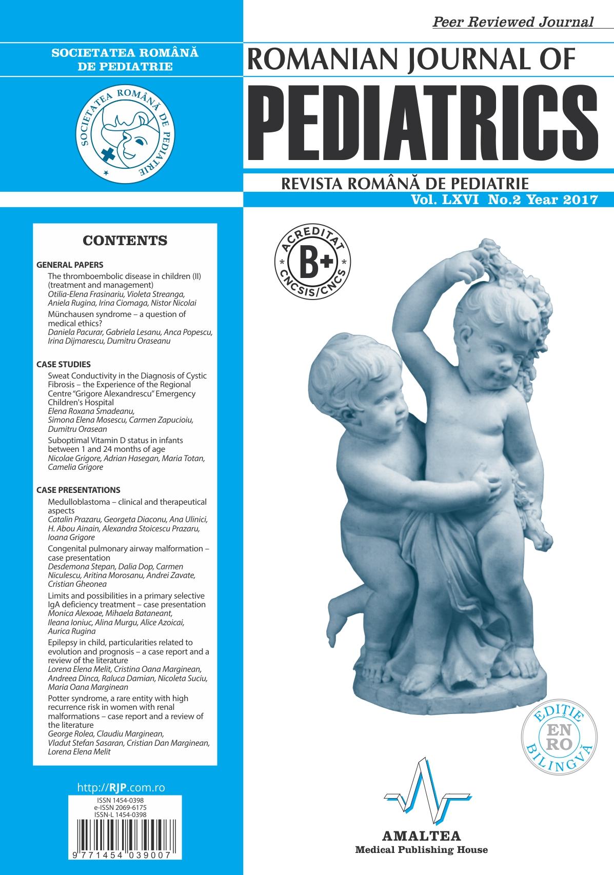 Revista Romana de PEDIATRIE | Volumul LXVI, Nr. 2, An 2017