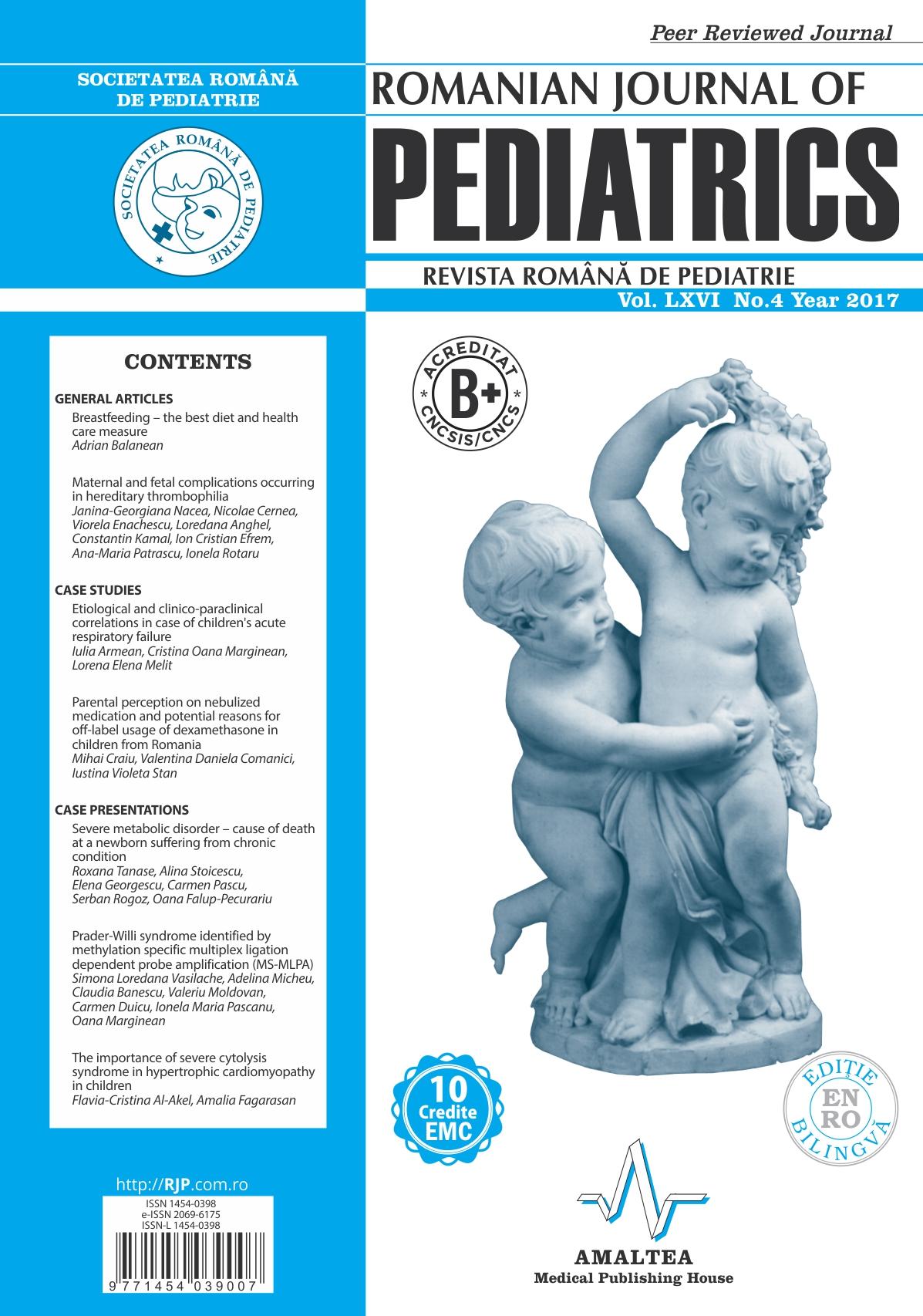 Revista Romana de PEDIATRIE | Volumul LXVI, Nr. 4, An 2017