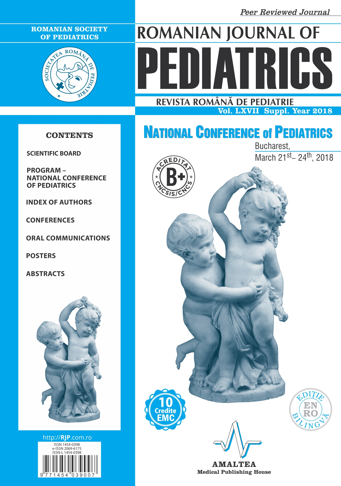 Romanian Journal of Pediatrics | Volume LXVII, Suppl., Year 2018