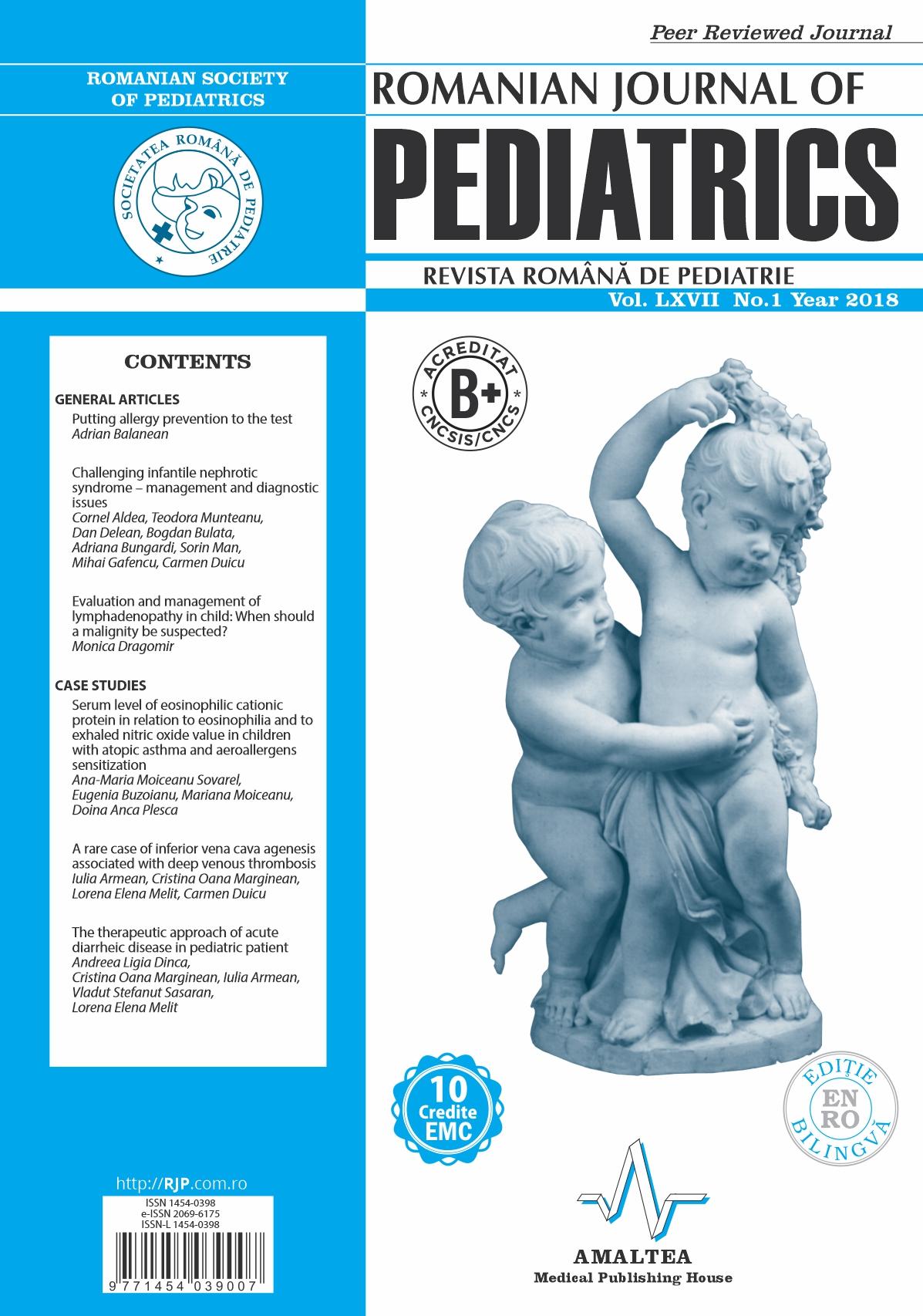 Romanian Journal of Pediatrics   Volume LXVII, No. 1, Year 2018