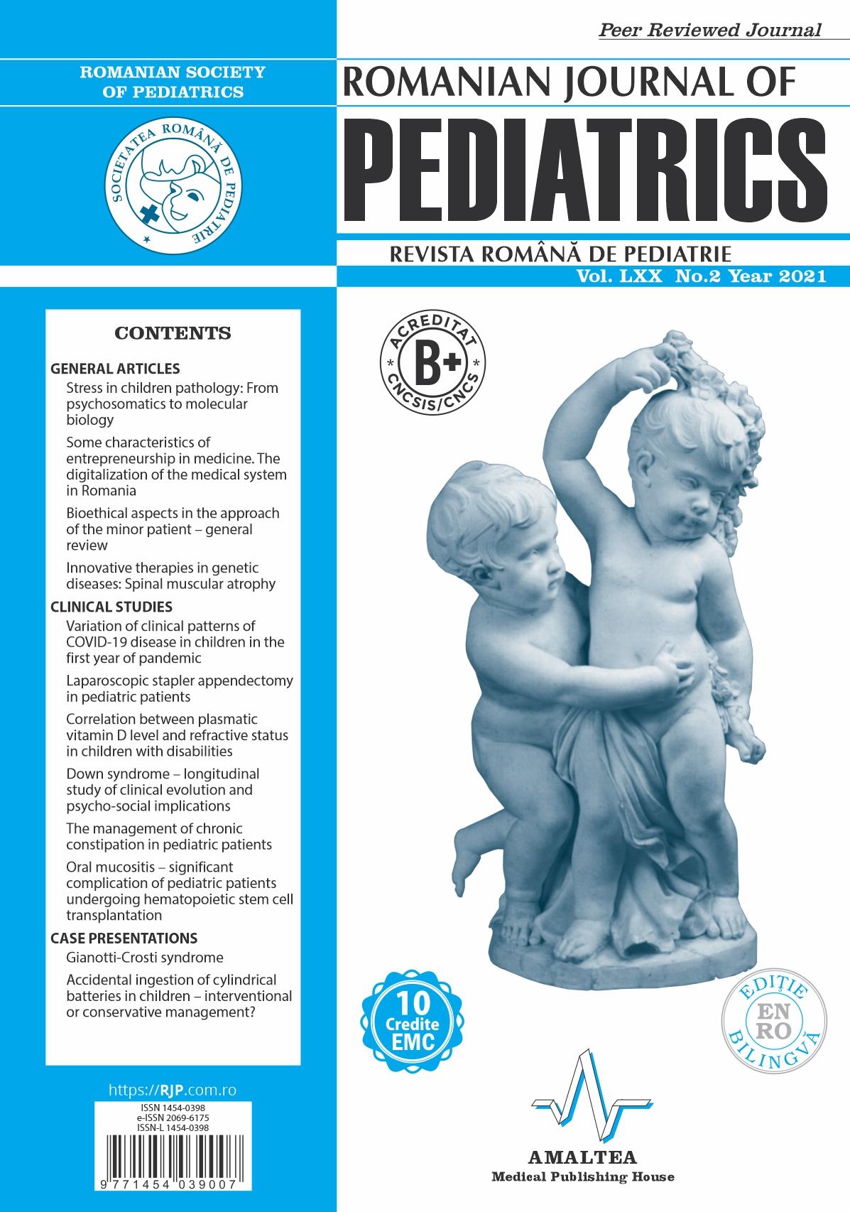Romanian Journal of Pediatrics   Volume LXX, No. 2, Year 2021