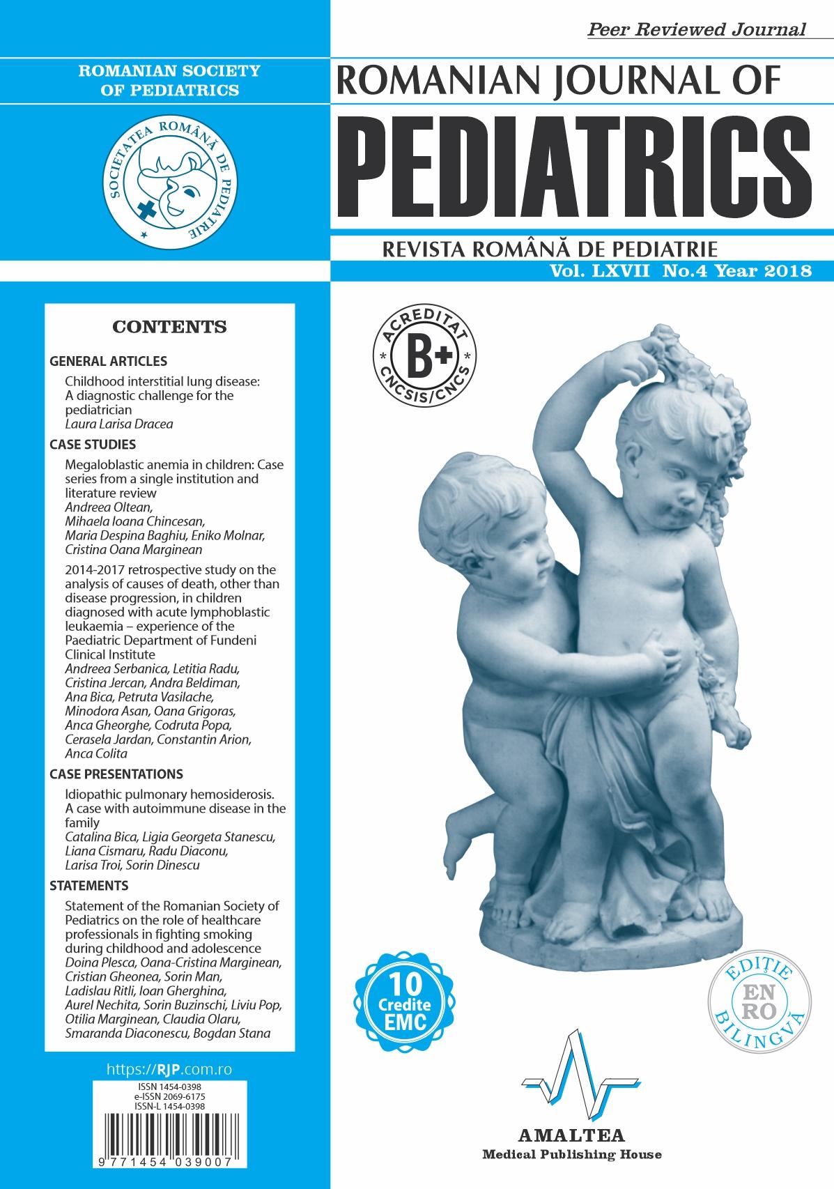 Romanian Journal of Pediatrics | Volume LXVII, No. 4, Year 2018