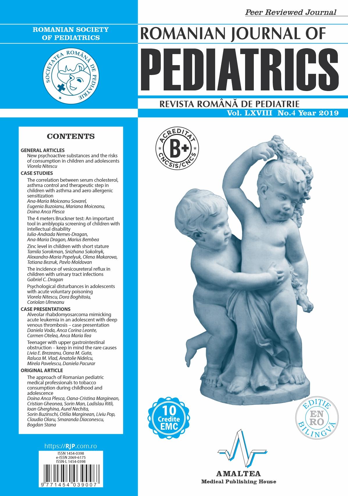 Romanian Journal of Pediatrics   Volume LXVIII, No. 4, Year 2019